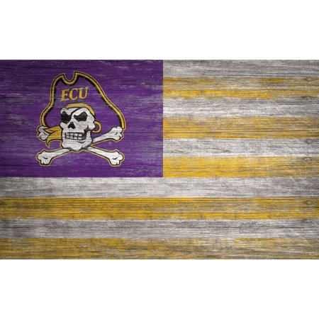 NCAA ECU Pirates 11'' x 19'' Distressed Flag Sign