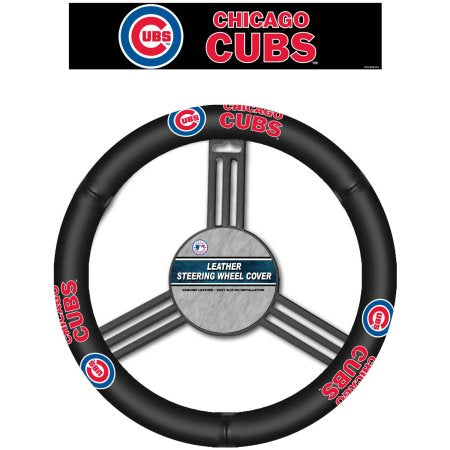 MLB Leather Steering Wheel Cover, Chicago Cubs