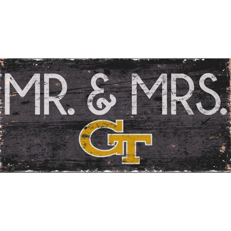NCAA Georgia Tech Yellow Jackets 6'' x 12'' Mr. & Mrs. Wedding Sign