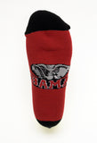 NCAA Alabama Crimson Tide Red Footie, Black Heel Toe Socks