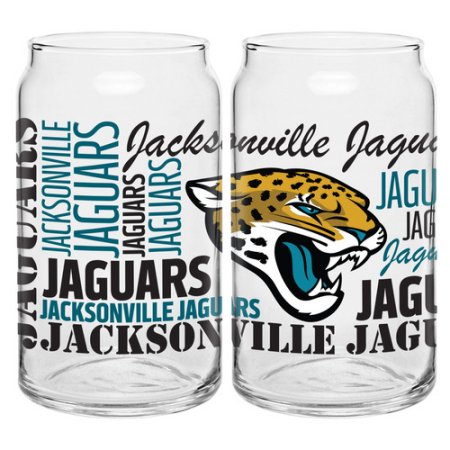 Boelter Brands NFL Set of Two 16 Ounce Spirit Glass Can Set, Jacksonville Jaguars