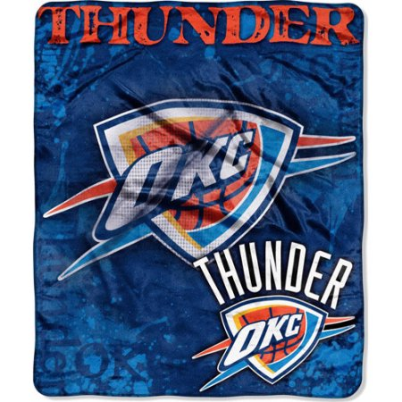 "NBA Dropdown 50"" x 60"" Royal Plush Raschel Throw, Thunder"