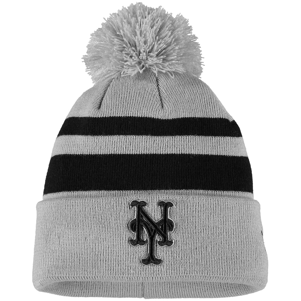 New York Mets New Era Rebound Cuffed Knit Hat with Pom - Gray/Black