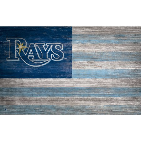 MLB Tampa Bay Rays 11'' x 19'' Distressed Flag Sign