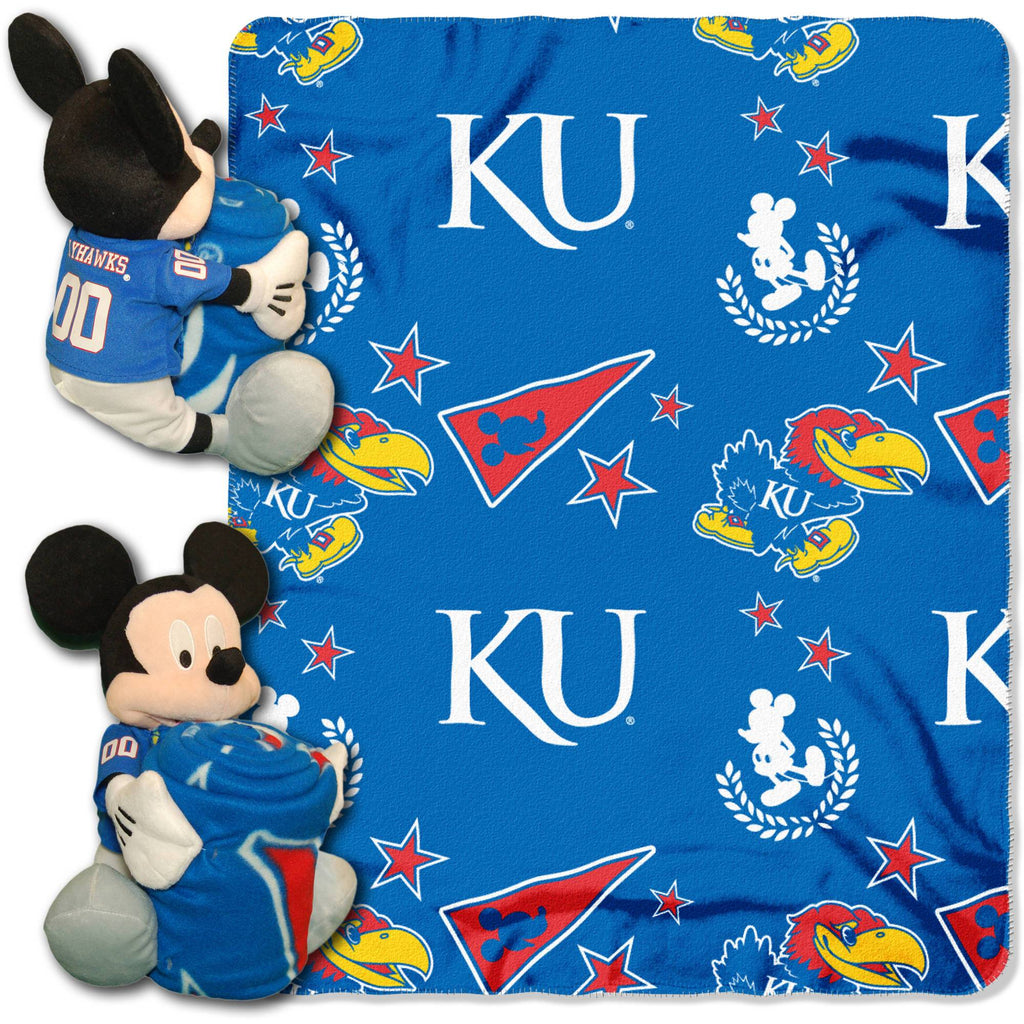 "Official NCAA and Disney Cobrand Kansas Jayhawks Mickey Mouse Hugger Character Shaped Pillow and 40""x 50"" Fleece Throw Set"