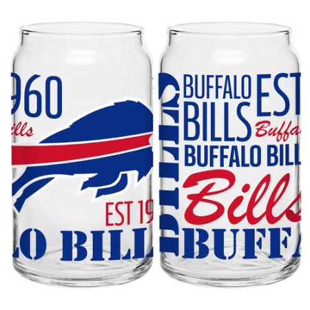 Boelter Brands NFL Set of Two 16 Ounce Spirit Glass Can Set, Buffalo Bills