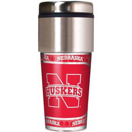 NCAA Nebraska Cornhuskers 16 oz Travel Tumbler with Metallic Wrap