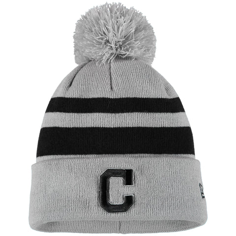 Cleveland Indians New Era Rebound Cuffed Knit Hat with Pom - Gray/Black