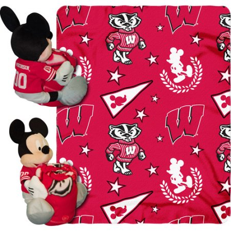 "Disney NCAA Hugger Pillow and 40"" x 50"" Throw Set, Wisconsin Badgers"