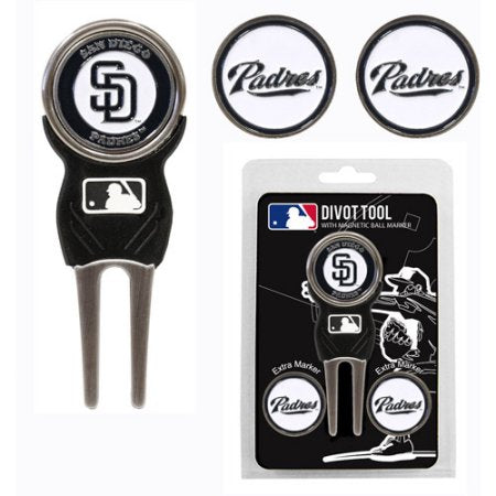 Team Golf MLB San Diego Padres Divot Tool Pack With 3 Golf Ball Markers