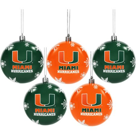 Forever Collectibles NCAA 5-Pack Shatterproof Ball Ornaments - University of Miami Hurricanes