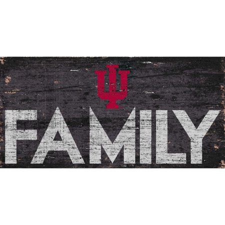 NCAA Indiana Hoosiers 6'' x 12'' Distressed Wood Family Sign