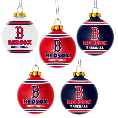 Forever Collectibles MLB 5-Pack Shatterproof Ball Ornaments - Boston Red Sox