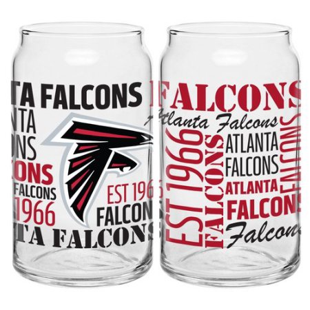 Boelter Brands NFL Set of Two 16 Ounce Spirit Glass Can Set, Atlanta Falcons