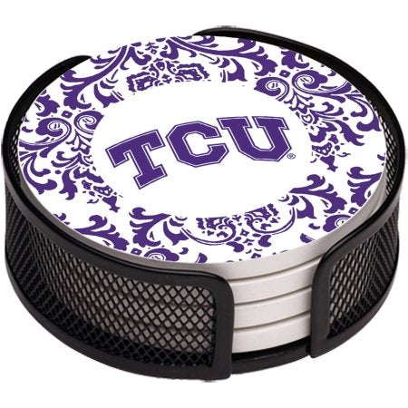 NCAA Texas Christian University Stoneware Drink Coaster Set with Holder Included