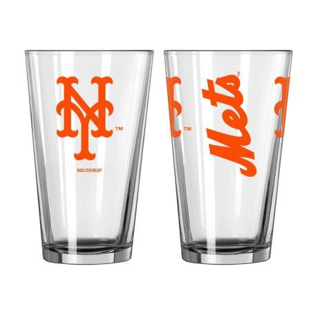 Boelter Brands MLB New York Mets Set of Two 16 Ounce Game Day Pint Glasses