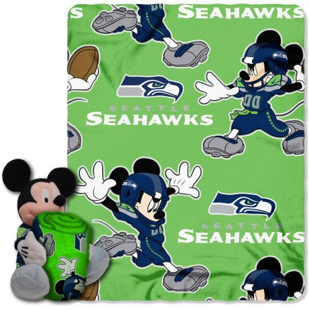 "Disney NFL Seattle Seahawks Hugger Pillow and 40"" x 50"" Throw Set"
