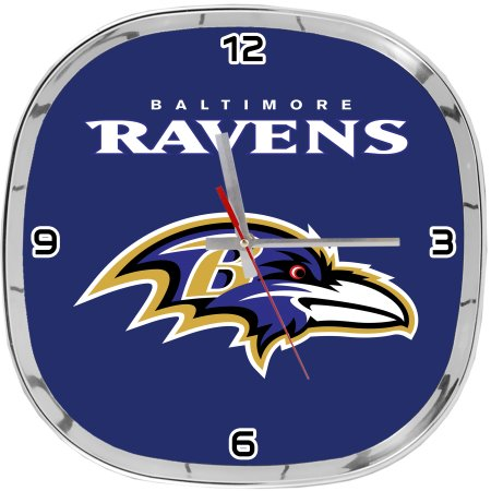 NFL Baltimore Ravens Chrome Clock 12""