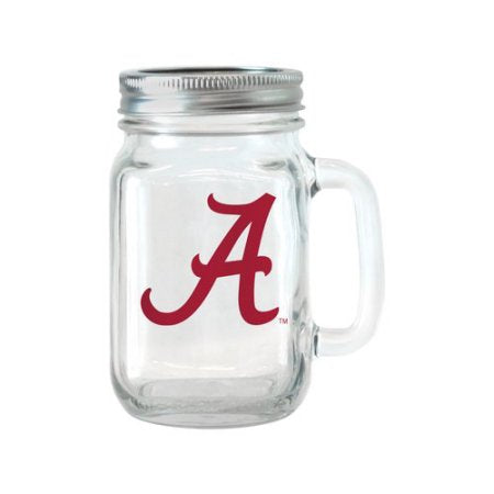 NCAA 16 oz Alabama Crimson Tide Glass Jar with Lid and Handle, 2pk