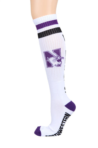 NCAA Northwestern Wildcats White Retro Style Knee-High Tube Socks