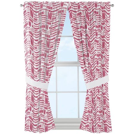 "NCAA Wisconsin Badgers ""Anthem"" Window Curtain Panels - Set of 2 - 36"" x 48"""