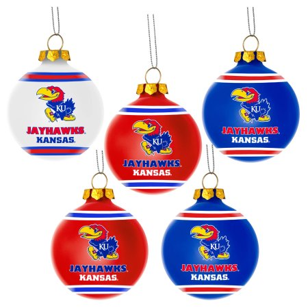 Forever Collectibles NCAA 5-Pack Shatterproof Ball Ornaments - Kansas Jayhawks