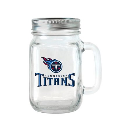 NFL 16 oz Tennessee Titans Glass Jar with Lid and Handle, 2pk