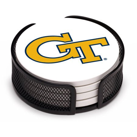 NCAA Georgia Tech Yellow Jackets Stoneware Drink Coaster Set with Holder Included