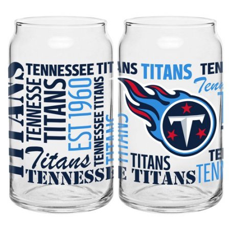 Boelter Brands NFL Set of Two 16 Ounce Spirit Glass Can Set, Tennessee Titans