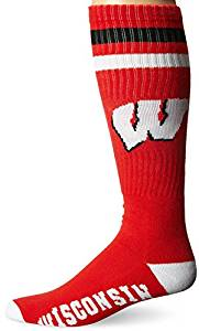 NCAA Wisconsin Badgers Black Retro Style Knee-High Tube Socks