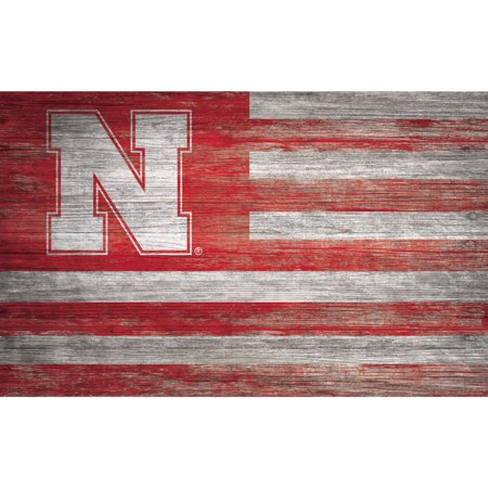 NCAA Nebraska Cornhuskers 11'' x 19'' Distressed Flag Sign