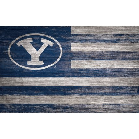 NCAA BYU Cougars 11'' x 19'' Distressed Flag Sign