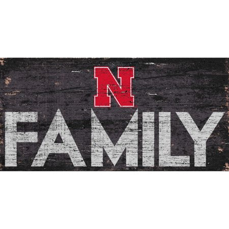 NCAA Nebraska Cornhuskers 6'' x 12'' Distressed Wood Family Sign