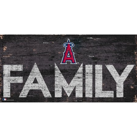 MLB Los Angeles Angels 6'' x 12'' Distressed Wood Family Sign