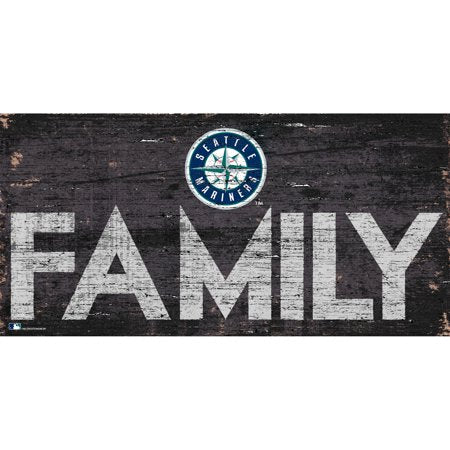 MLB Seattle Mariners 6'' x 12'' Distressed Wood Family Sign
