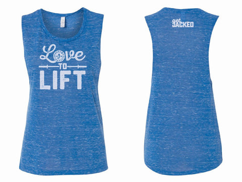 Love to Lift Muscle Tank - Blue Marble