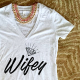 WIFEY Ladies V-Neck t-shirt - Chamomile + Roses