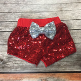 Red Sparkle Shorts with Glitter Bow