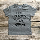 I'm the Reason We Can't Have Nice Things Infant and Children's T-Shirt