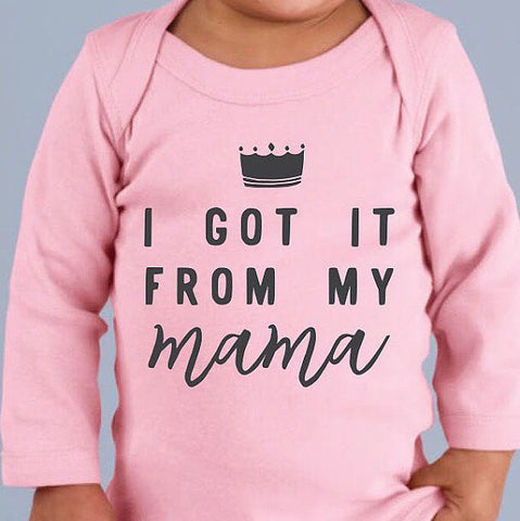 I GOT IT FROM MY MAMA Long Sleeve Infant Onesie - Chamomile + Roses