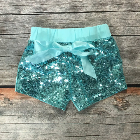 Aqua Sparkle Shorts with Tie Bow