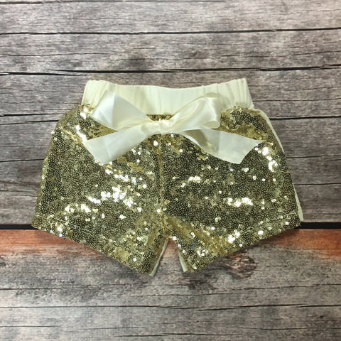 Gold Sparkle Shorts with Tie Bow