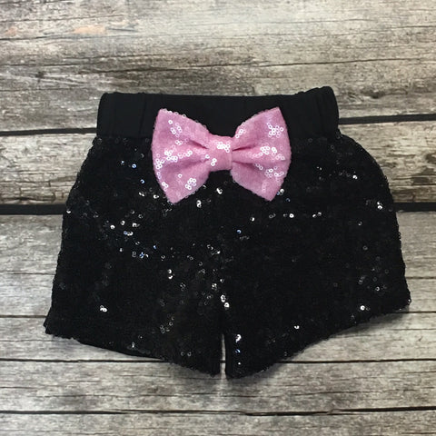 Black Sparkle Shorts with Glitter Bow