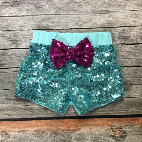 Aqua Sparkle Shorts with Glitter Bow