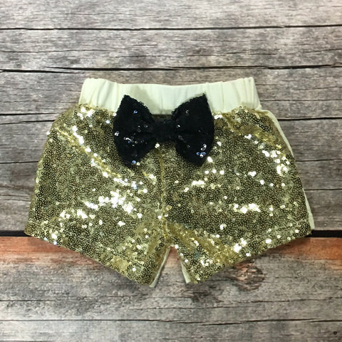 Gold Sparkle Shorts with Glitter Bow
