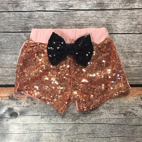 Rose Gold Sparkle Shorts with Glitter Bow
