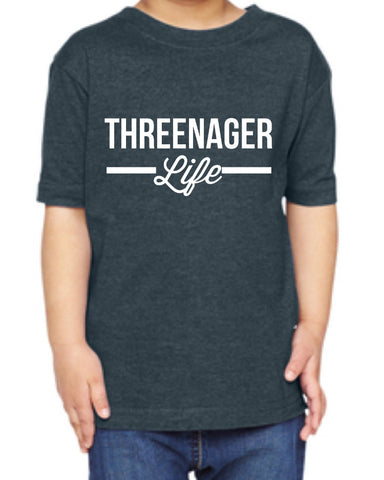 Threenager Life Toddler and Children's Navy T-shirt - Chamomile + Roses