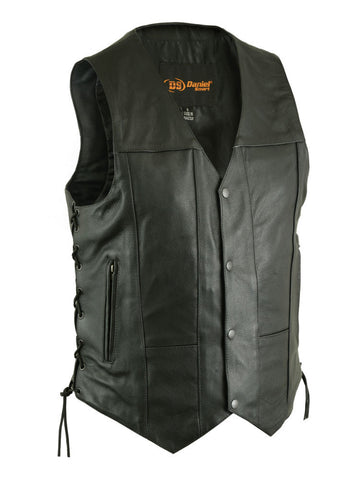 Ten Pocket Black Leather Utility Vest with Antique Snap Front