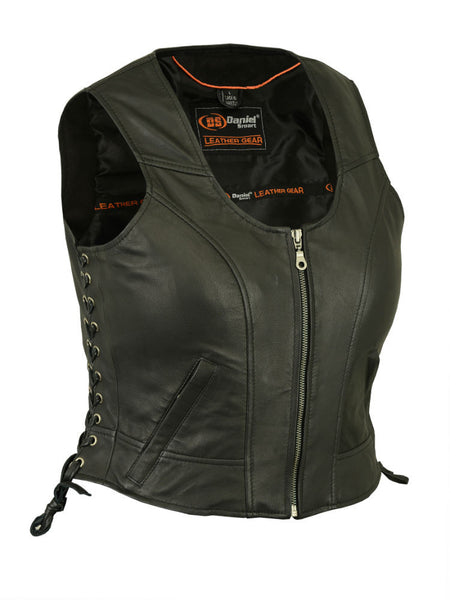 Fitted Black Leather Vest with Side Laces