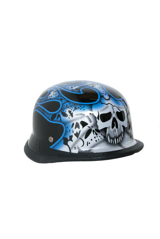 Novelty German Blue Skull & Flames - Non- DOT